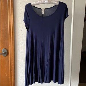 Blue Capped Sleeve T Shirt Dress